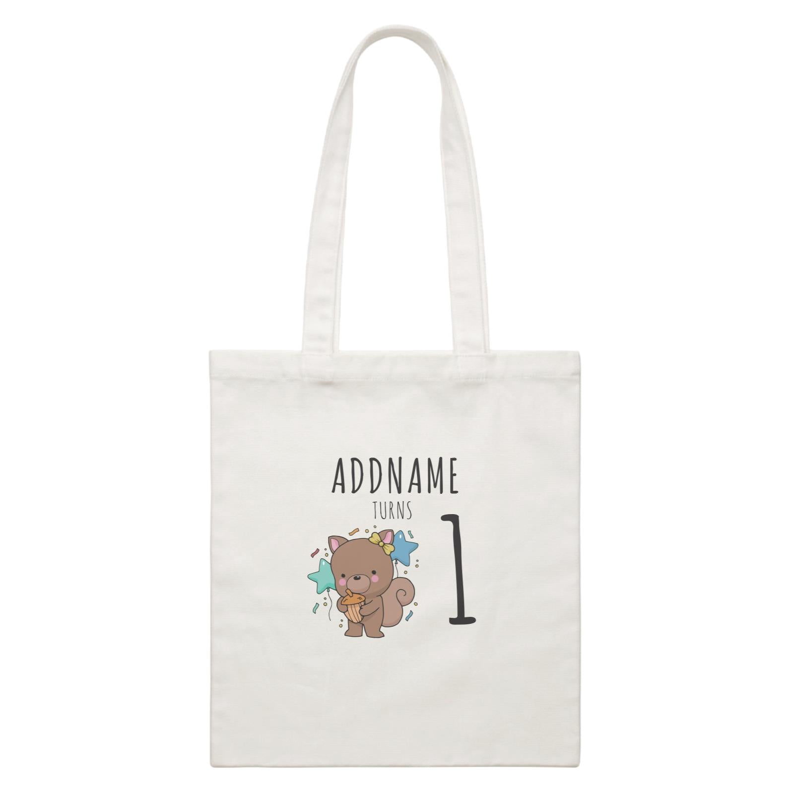 Birthday Sketch Animals Squirrel with Acorn Addname Turns 1 White Canvas Bag