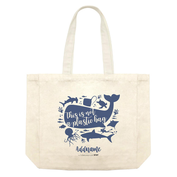 This is Not A Plastic Bag with Sea Animals Silhouette Addname Shopping Bag