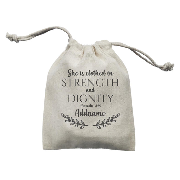 Christian For Her She Is Clothed in Strength and Dignity Proverbs 31.25 Addname Mini Accessories Mini Pouch