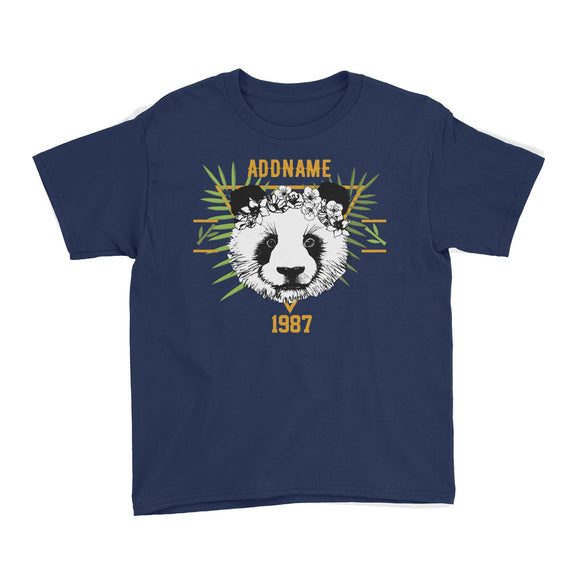 Jersey Panda With Flower Personalizable with Name and Year Kid's T-Shirt