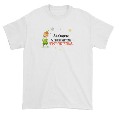 Cute Elf Boy Wishes Everyone Merry Christmas Addname Unisex T-Shirt  Matching Family Personalizable Designs