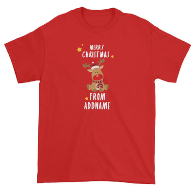 Cute Rudolph Merry Christmas Greeting Addname Unisex T-Shirt  Animal Personalizable Designs Matching Family