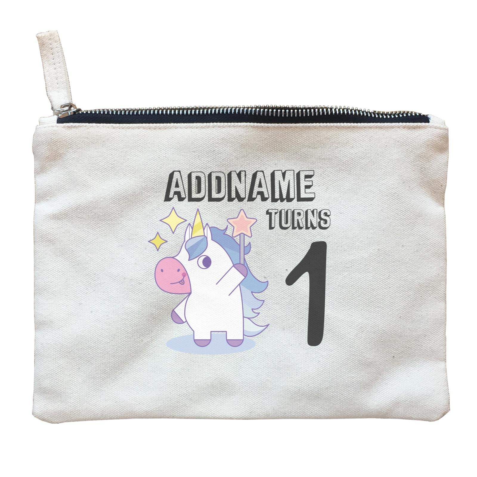 Birthday Unicorn Boy With Magic Wand Addname Turns 1 Zipper Pouch