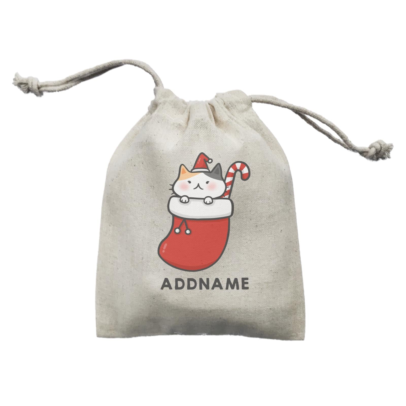 Xmas Cute Cat In Christmas Sock Addname Mini Accessories Mini Pouch