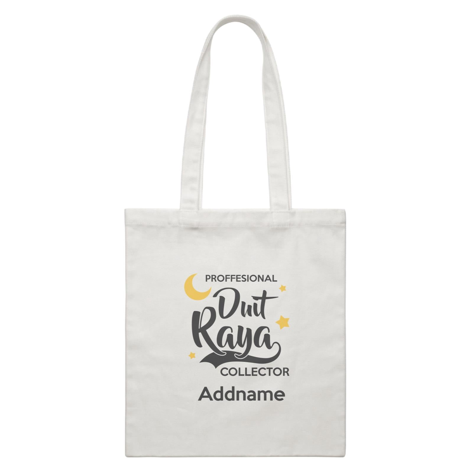 Raya Typography Professional Duit Raya Collector Addname White Canvas Bag