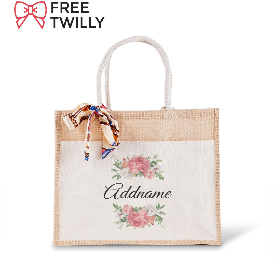 Peony Flower Jute Bag with Front Pocket