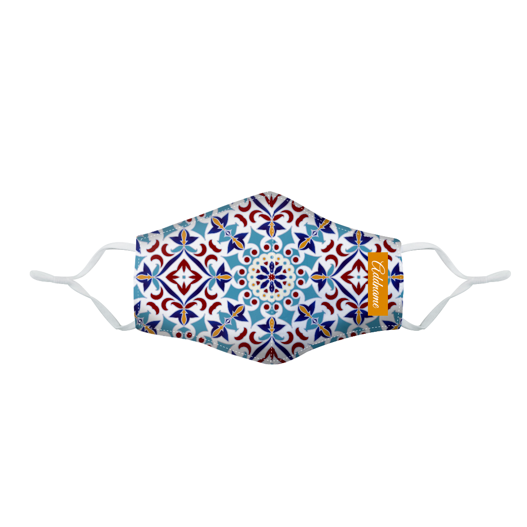 Arabesque Agean Blue Fitted Fabric Mask