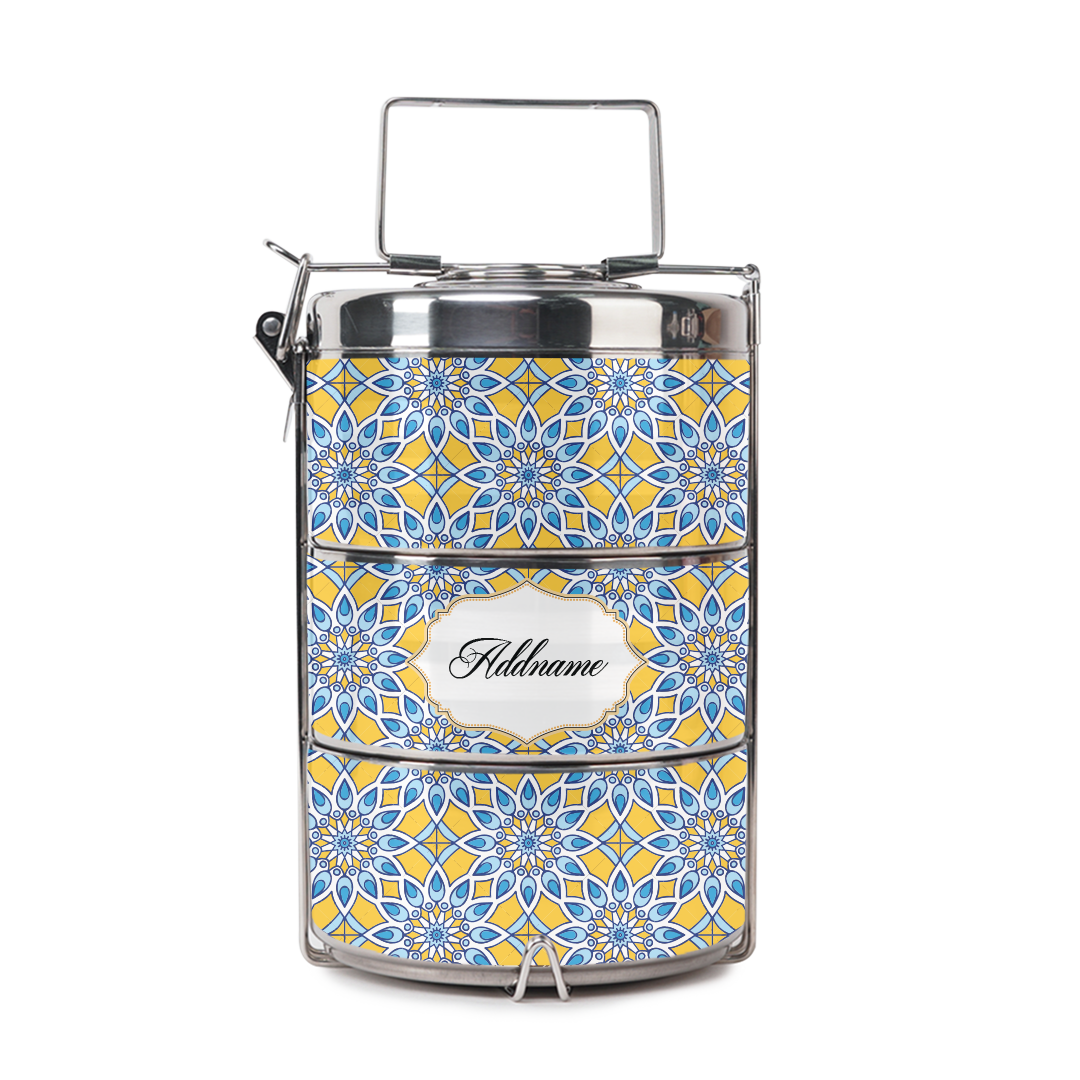 [RAYA 2021] Chromatic Floret Blue Tiffin Carrier
