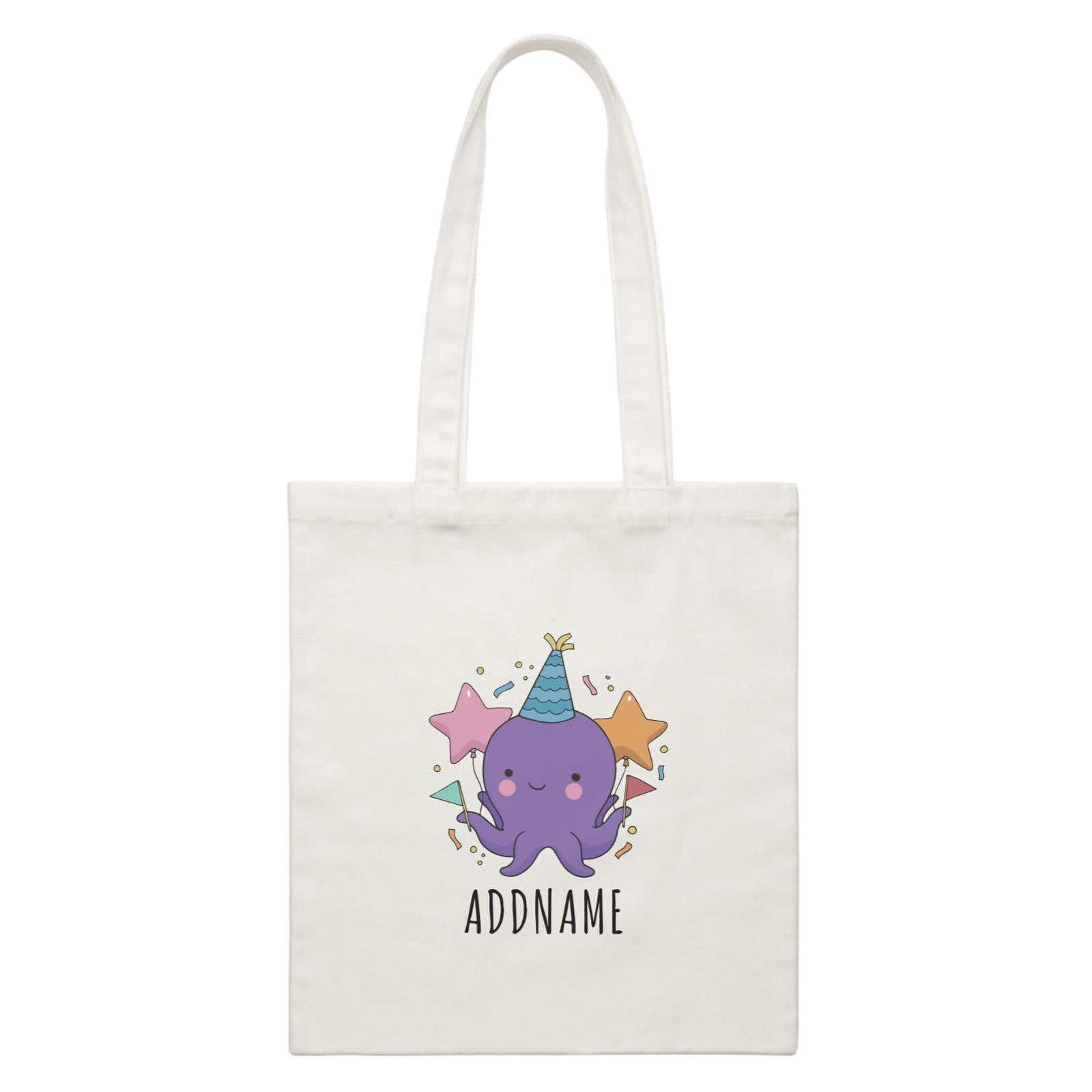Birthday Sketch Animals Octopus with Flags Addname White Canvas Bag