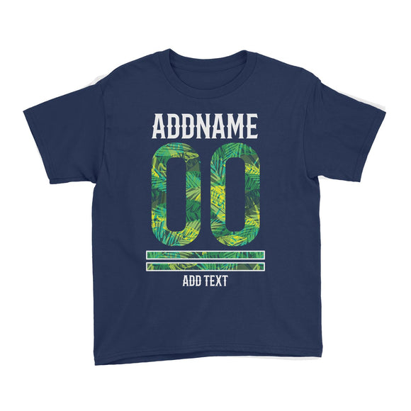 Palm Leaves Pattern Jersey Personalizable with Name Number and Text Kid's T-Shirt