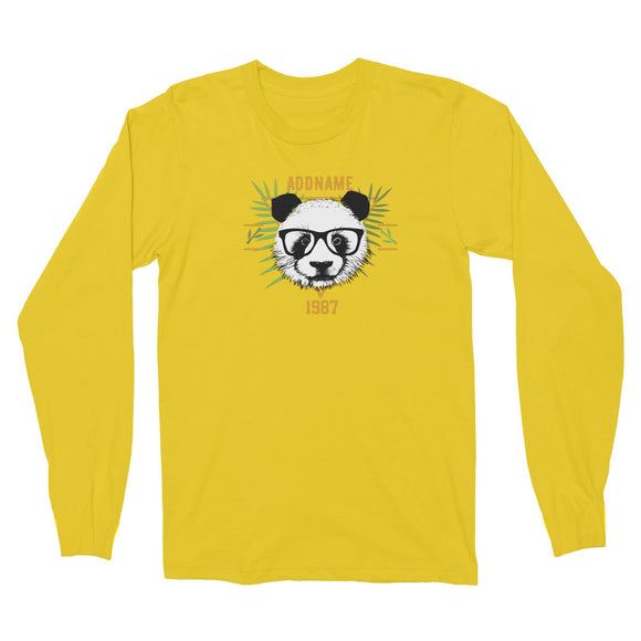Jersey Panda With Glasses Personalizable with Name and Year Long Sleeve Unisex T-Shirt