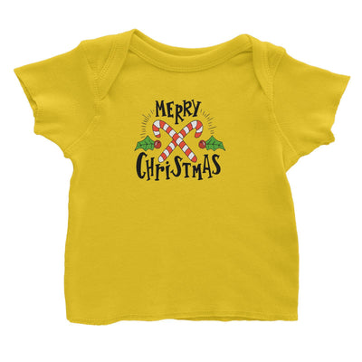 Merry Chrismas with Holly and Candy Cane Greeting Baby T-Shirt Christmas Matching Family Lettering
