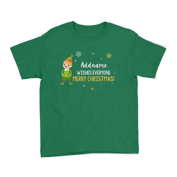 Cute Elf Boy Wishes Everyone Merry Christmas Addname Kid's T-Shirt  Matching Family Personalizable Designs