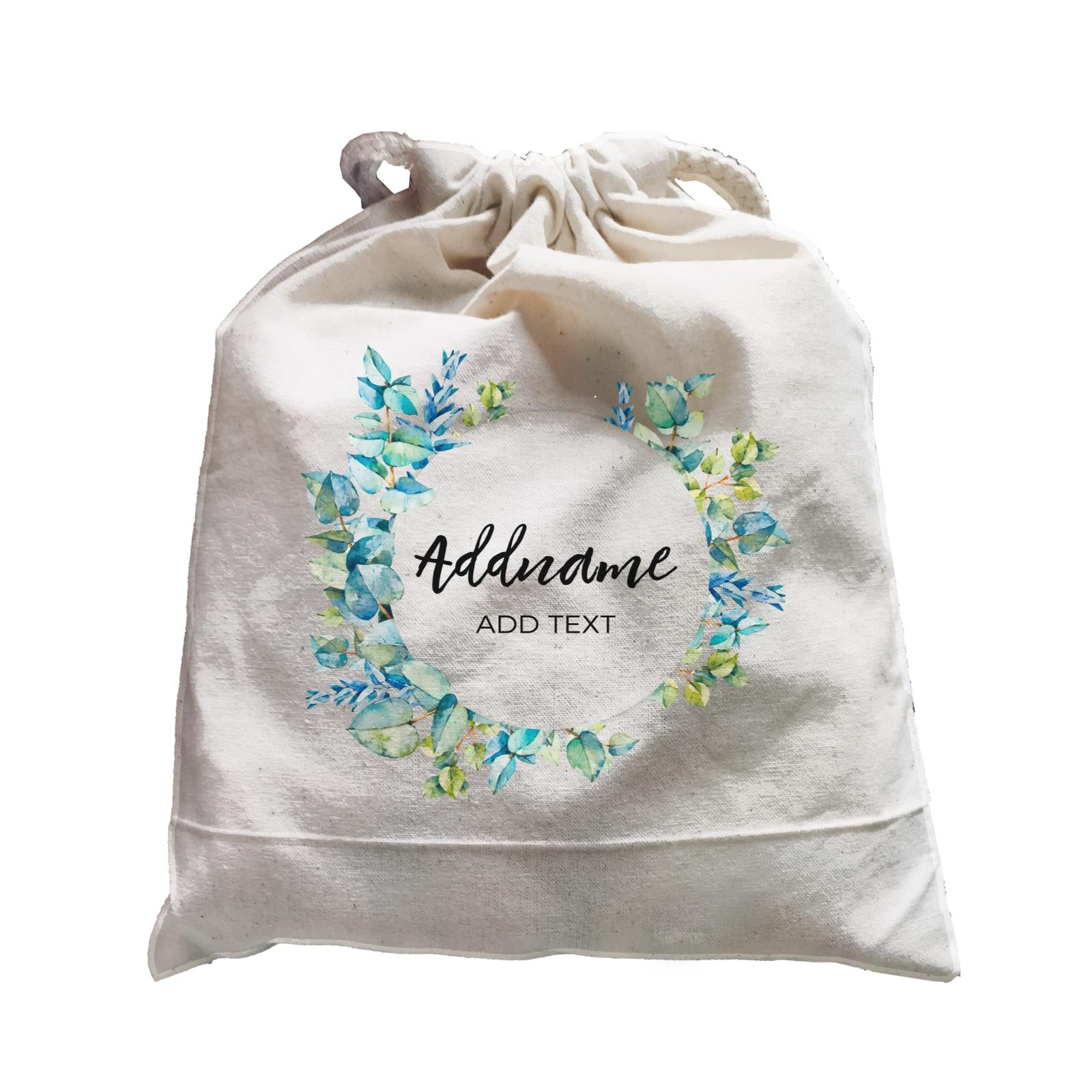Add Your Own Text Teacher Blue Leaves Wreath Addname And Add Text Satchel