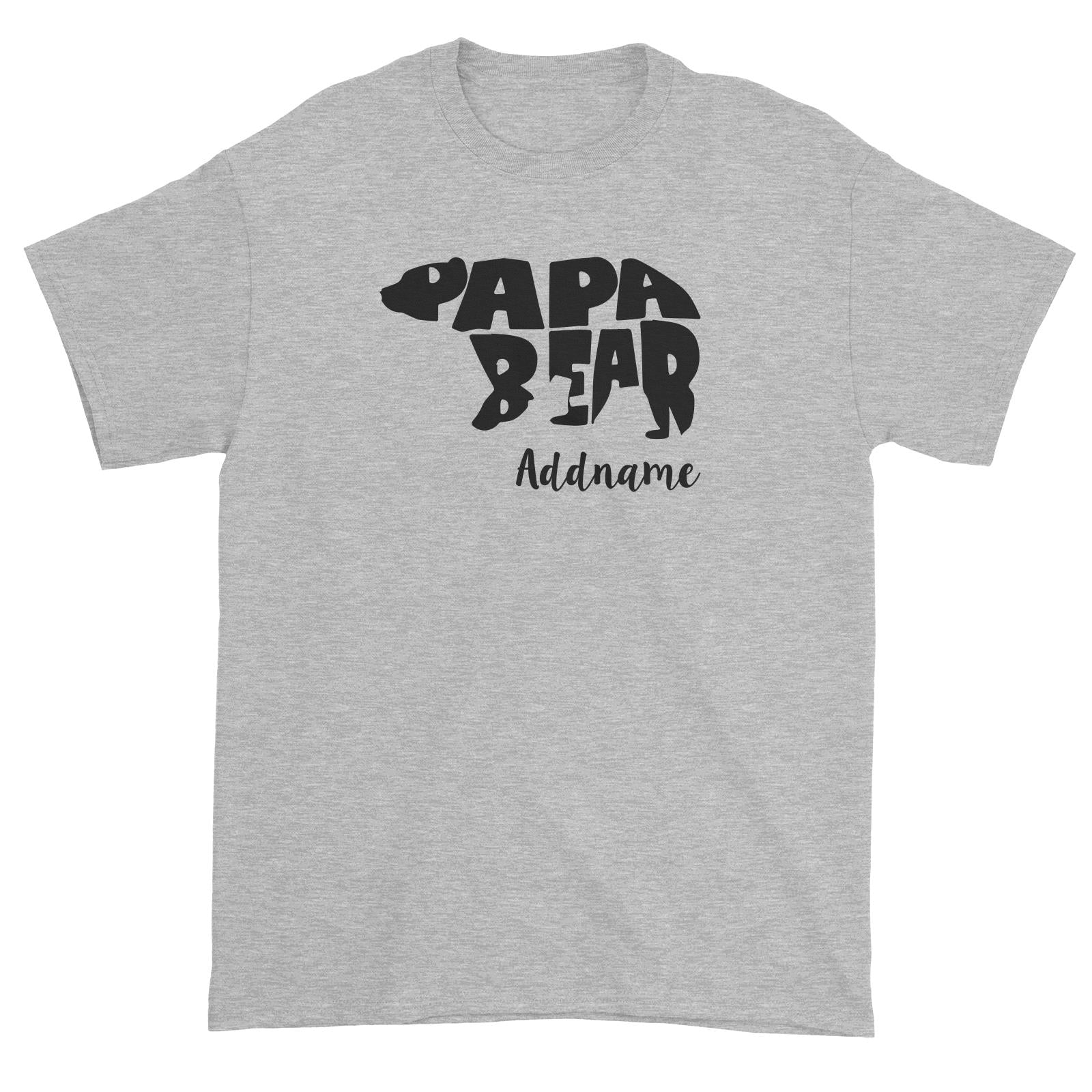 Papa Bear Silhouette Addname Unisex T-Shirt