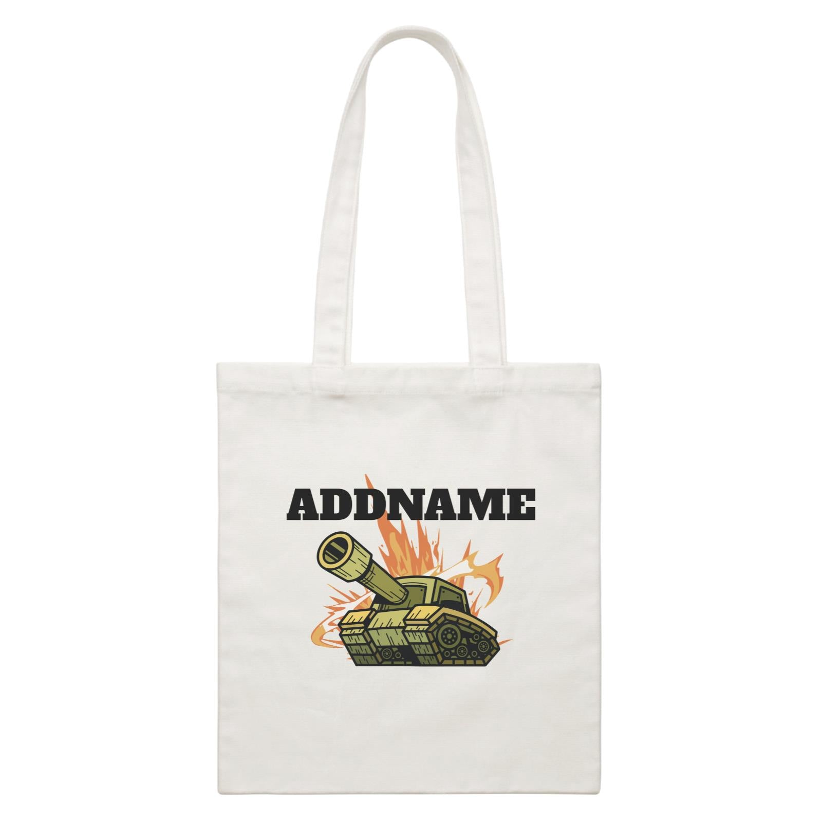 Birthday Battle Theme Tank Addname White Canvas Bag