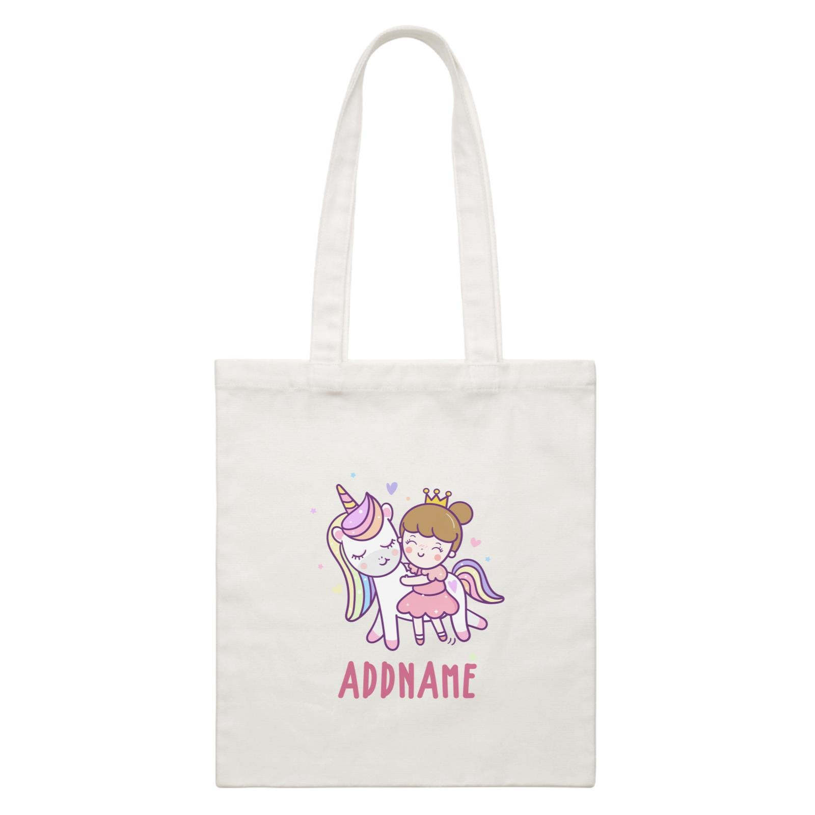 Unicorn And Princess Series Cute Unicorn With Princess Addname White Canvas Bag