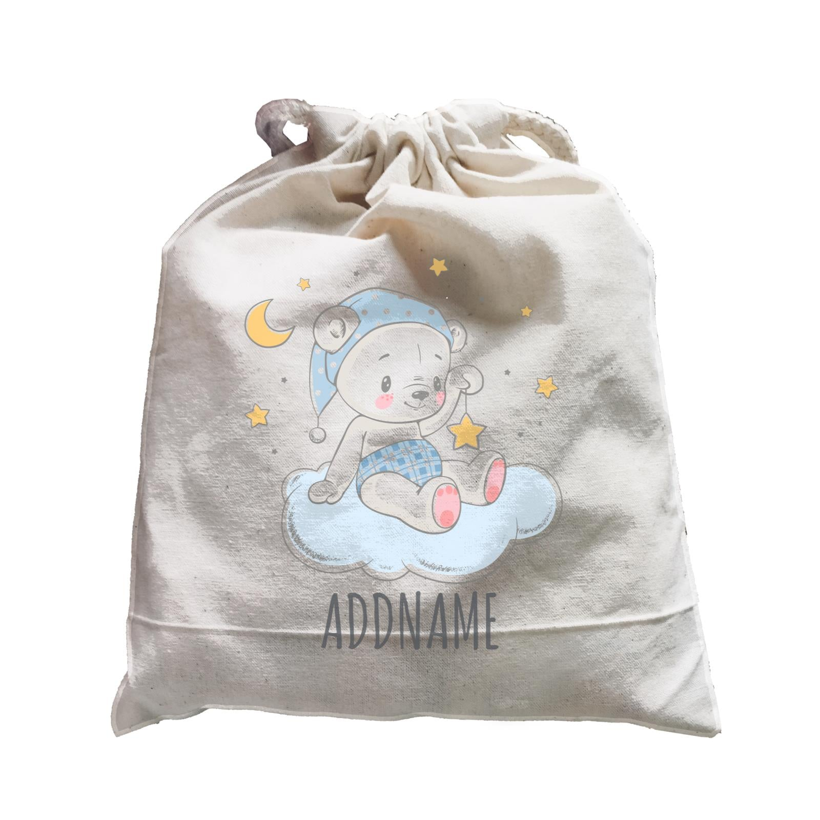 Night Boy Bear Sitting on Cloud Satchel Personalizable Designs Cute Sweet Animal For Boys Newborn HG