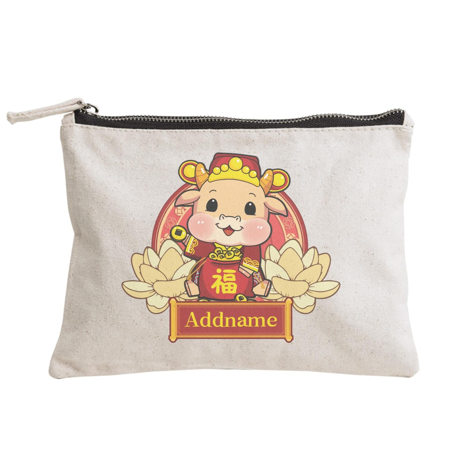 [CNY 2021] Gold Lotus Series Cow of Wealth Zipper Pouch