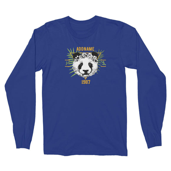 Jersey Panda With Flower Personalizable with Name and Year Long Sleeve Unisex T-Shirt