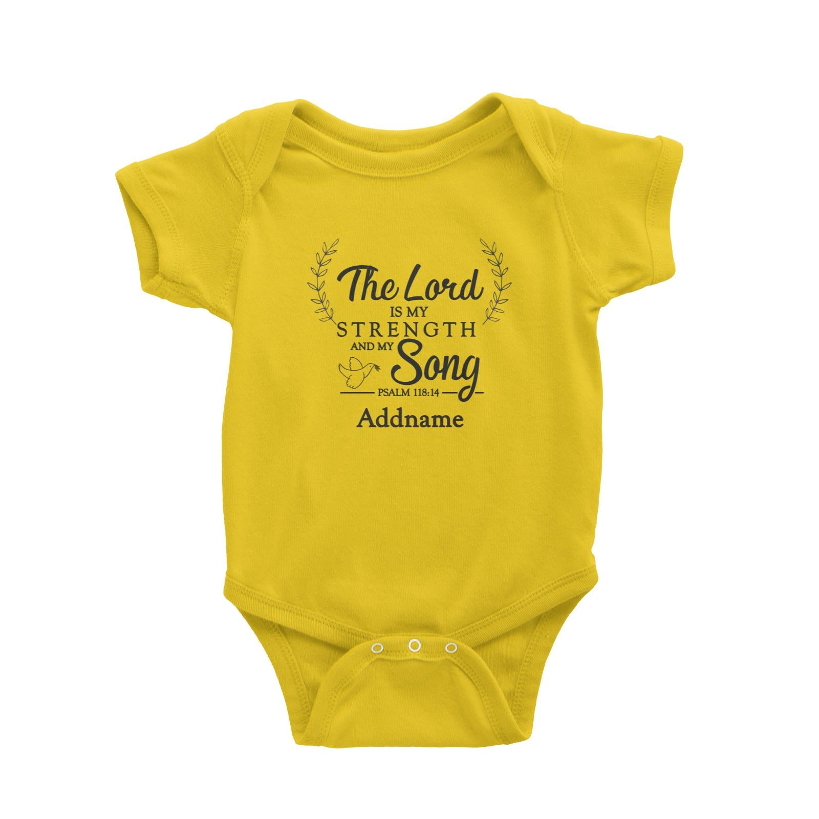 Christian Series The Lord Is My Strength Song Psalm 118.14 Addname Baby Romper
