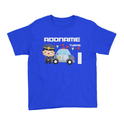 Birthday Police Officer Boy In Suit With Police Car Addname Turns 1 Kid's T-Shirt
