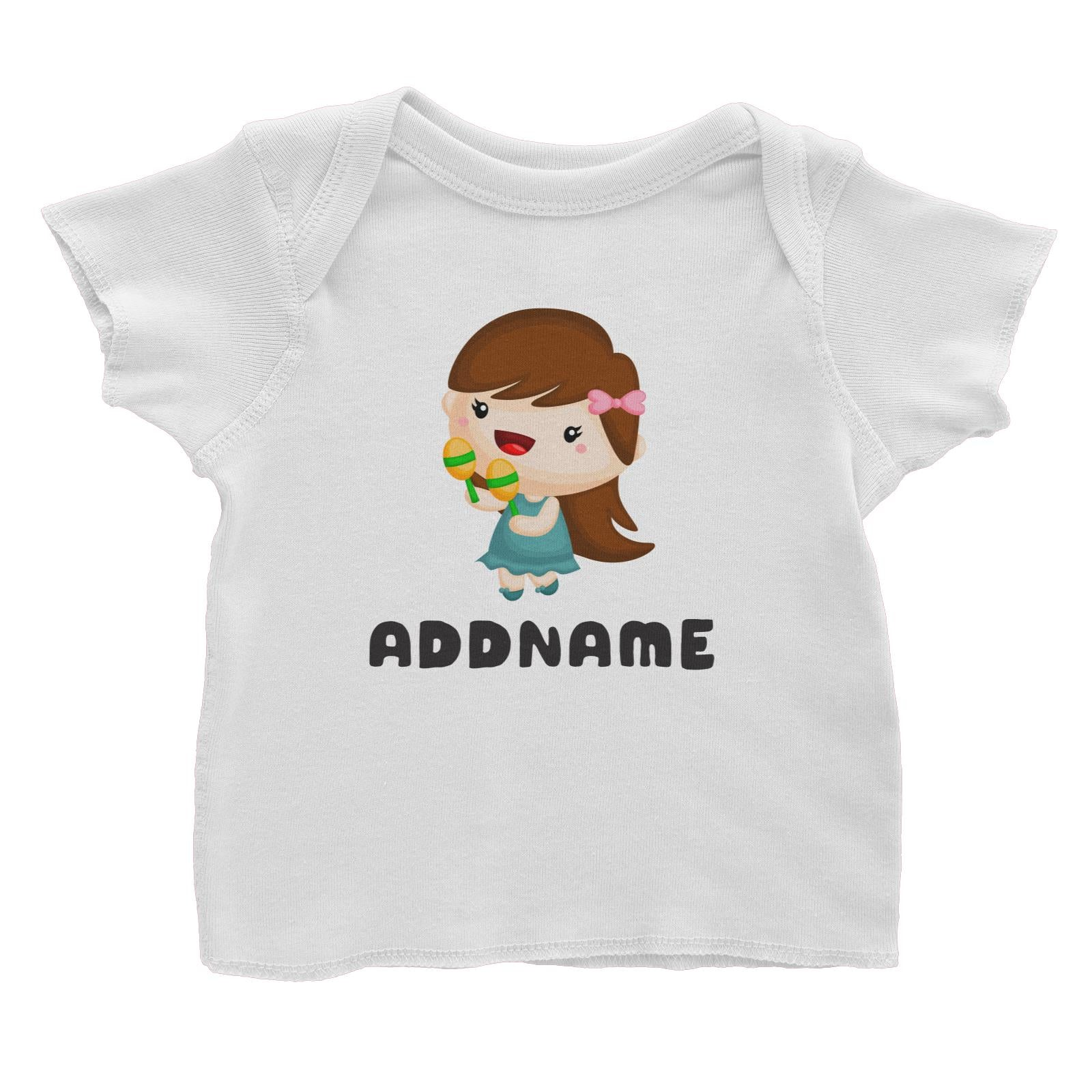Birthday Music Band Girl Playing Maracas Addname Baby T-Shirt