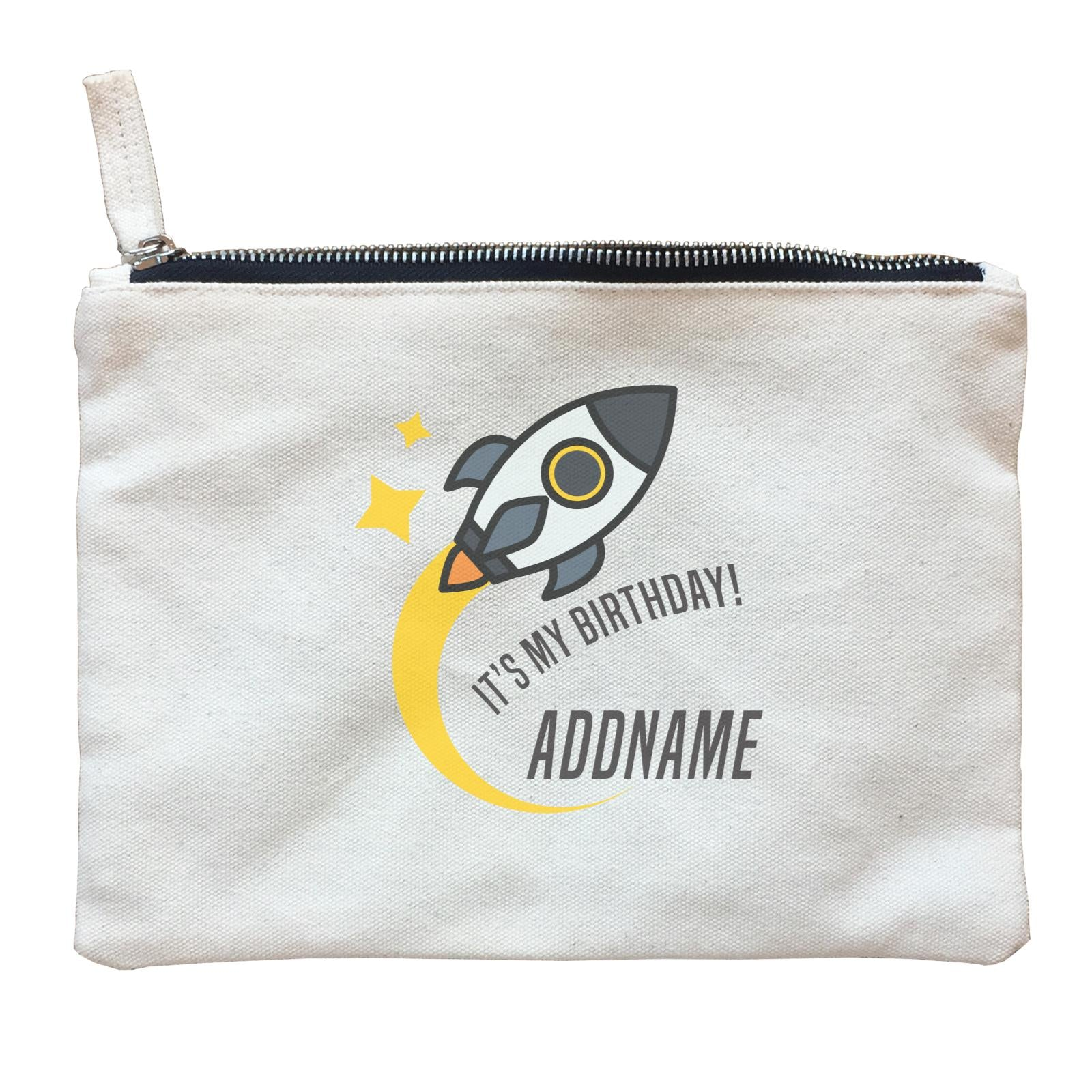 Birthday Flying Rocket To Galaxy It's My Birthday Addname Zipper Pouch