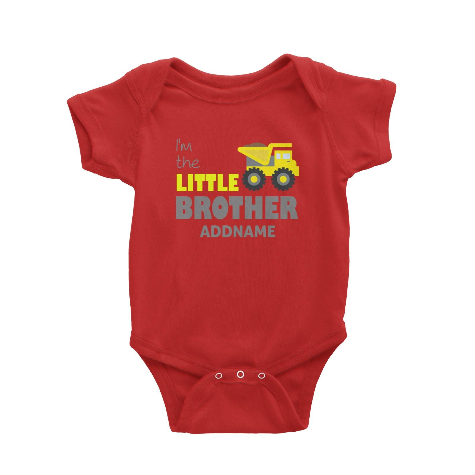 I'm The Little Brother Addname with Yellow Bulldozer Baby Romper Personalizable Designs Basic Newborn