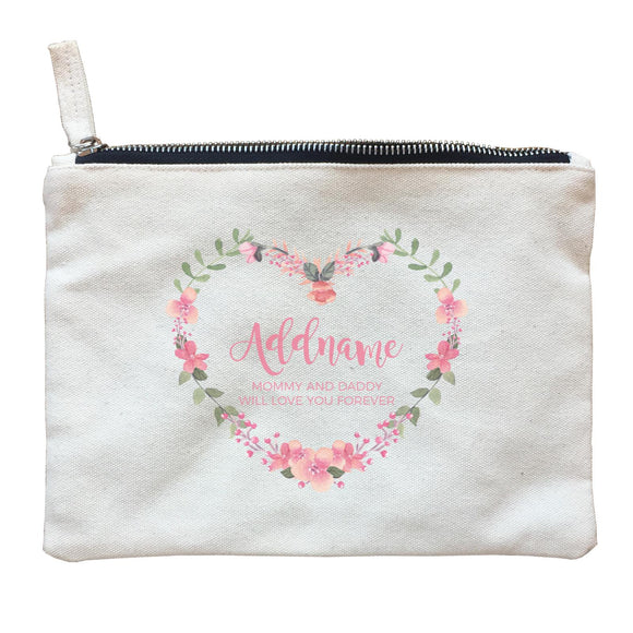Pink Heart Shaped Flower Wreath Personalizable with Name and Text Zipper Pouch