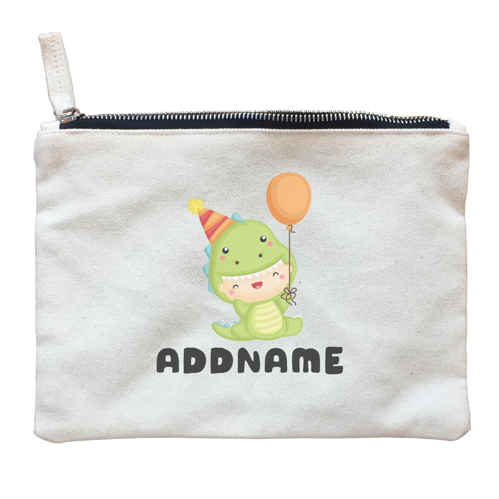 Birthday Dinosaur Happy Baby Wearing Dinosaur Suit And Party Hat Addname Zipper Pouch