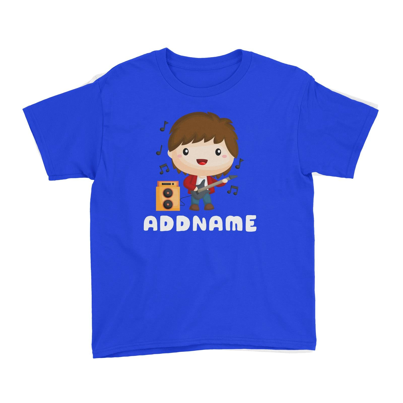 Birthday Music Band Boy Playing Bass Addname Kid's T-Shirt