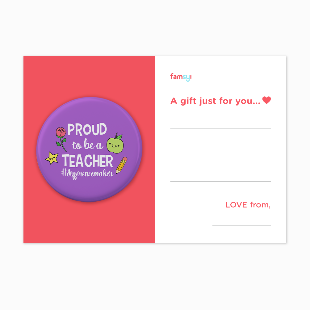 Teacher Appreciation Quote Series - Proud To Be A Teacher Difference Maker Button Badge with Back Pin (58mm)
