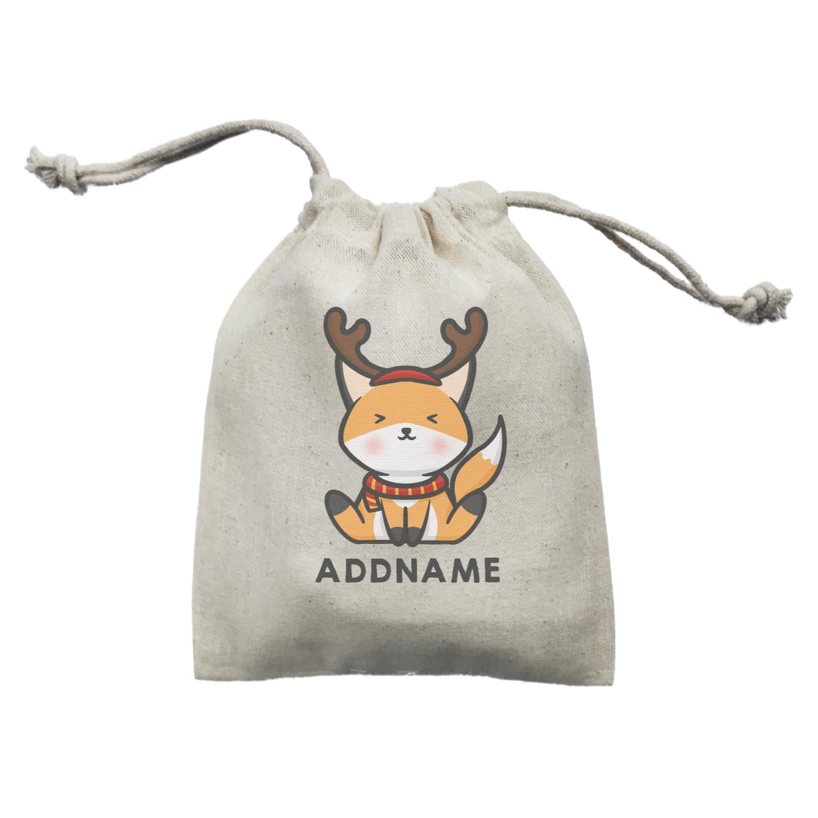 Xmas Cute Fox With Reindeer Antlers Addname Mini Accessories Mini Pouch