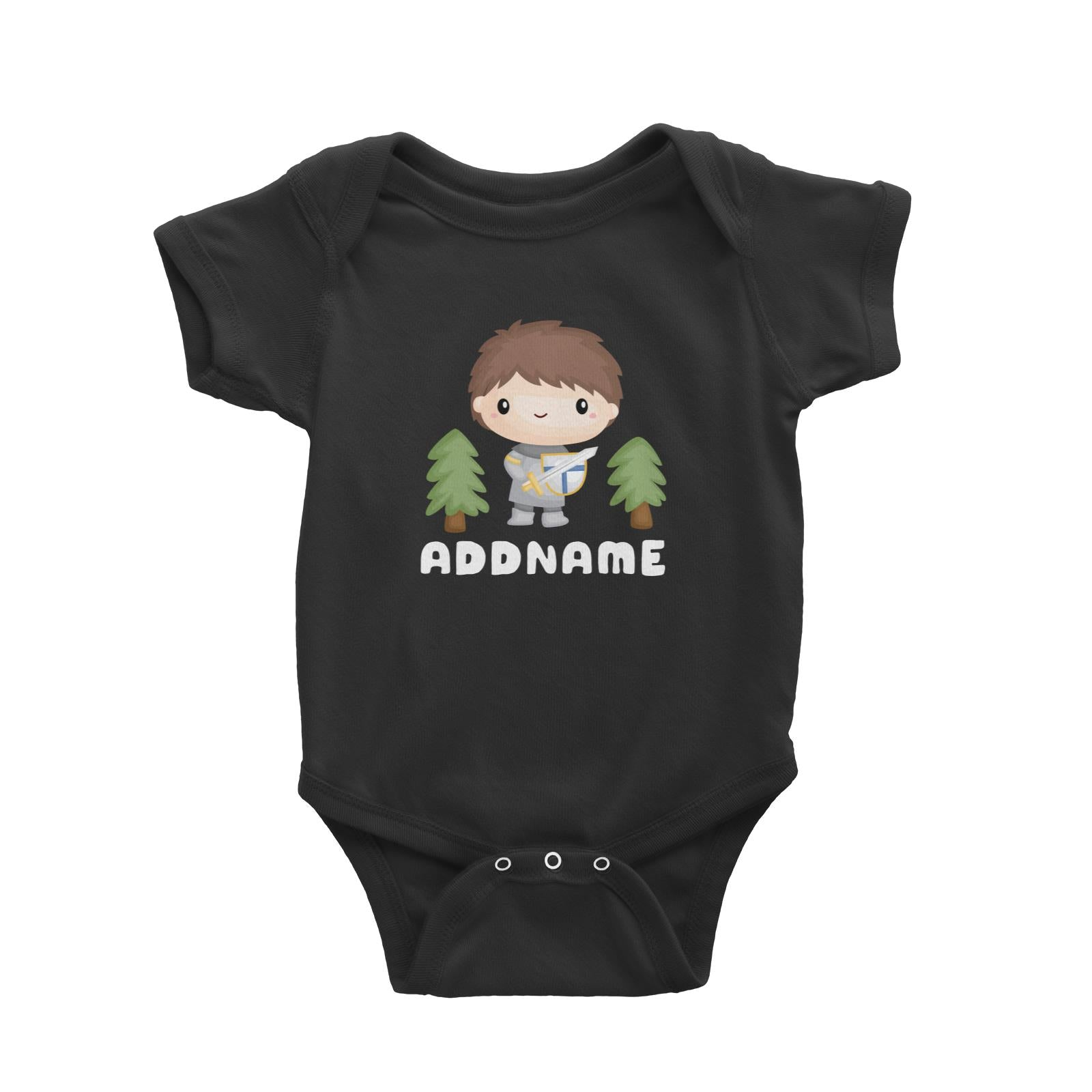 Birthday Royal Knight Boy Holding Sheild And Sword Addname Baby Romper