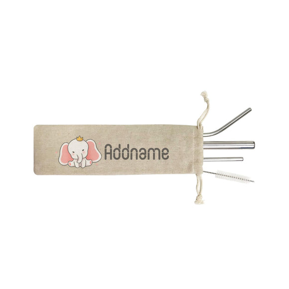 Cute Hand Drawn Style Baby Elephant with Crown Addname ST SZP 4-In-1 Stainless Steel Straw Set in Satchel