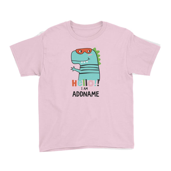Cool Vibrant Series Hello I Am Dinosaur Addname Kid's T-Shirt
