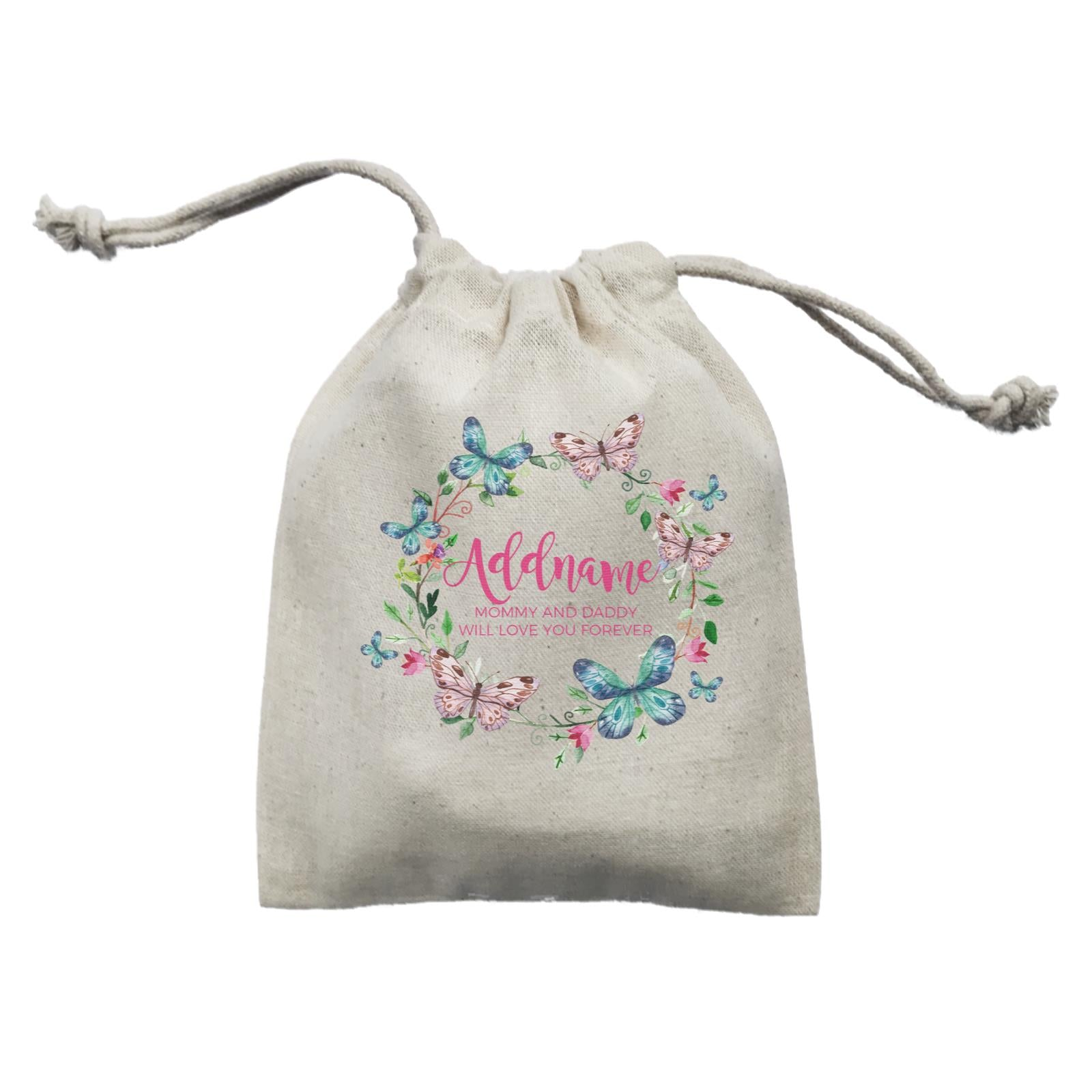 Colourful Butterflies Wreath Personalizable with Name and Text Mini Accessories Mini Pouch