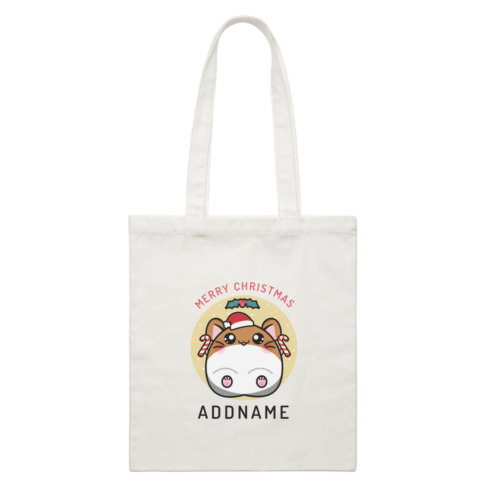 Merry Christmas Cute Santa Boy Hamster with Candy Cane White Canvas Bag