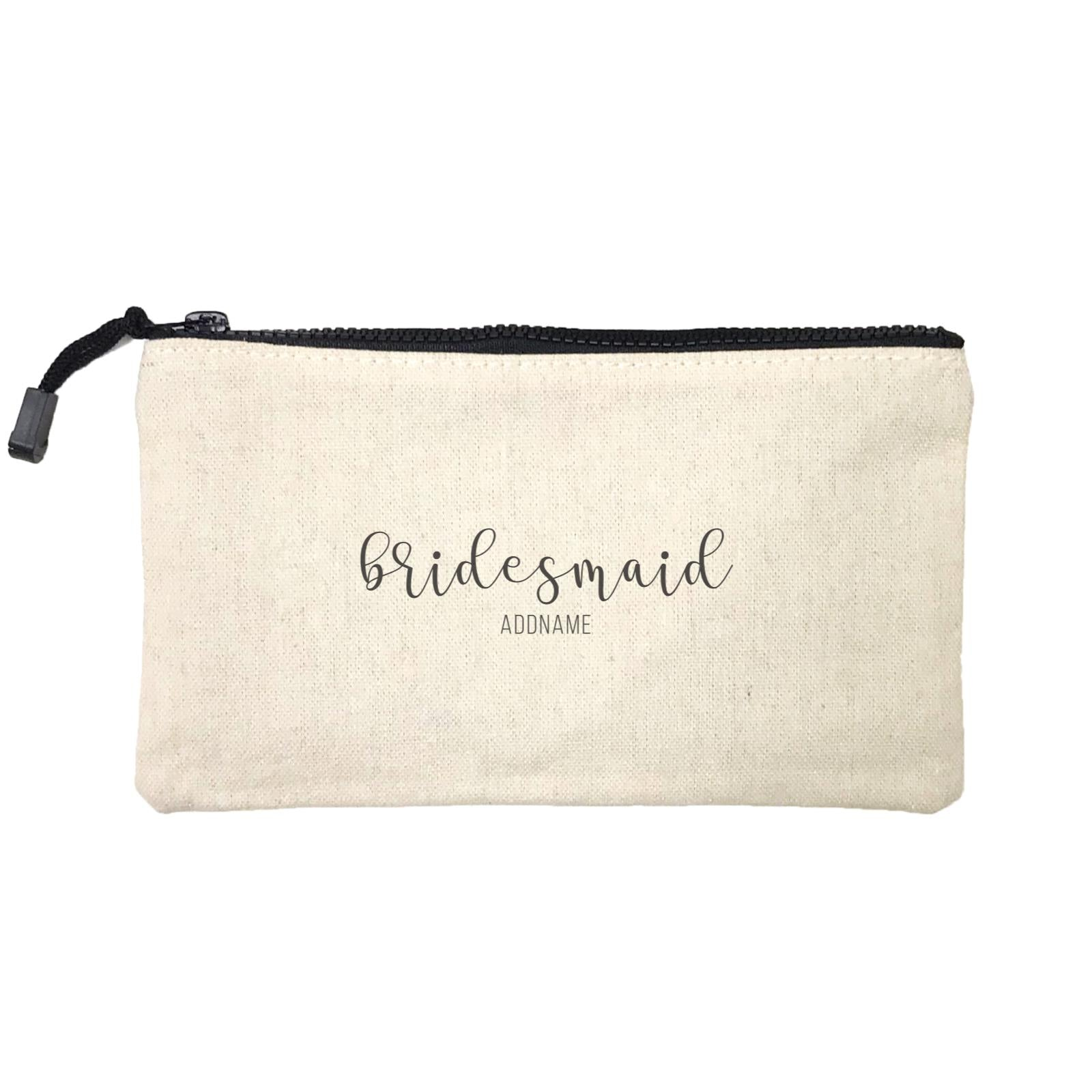 Bridesmaid Calligraphy Bridesmaid Subtle Addname Mini Accessories Stationery Pouch