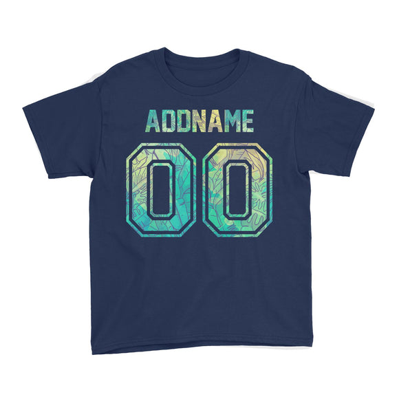 Custom Jersey Banana Leaves Pattern With Name and Number Kid's T-Shirt