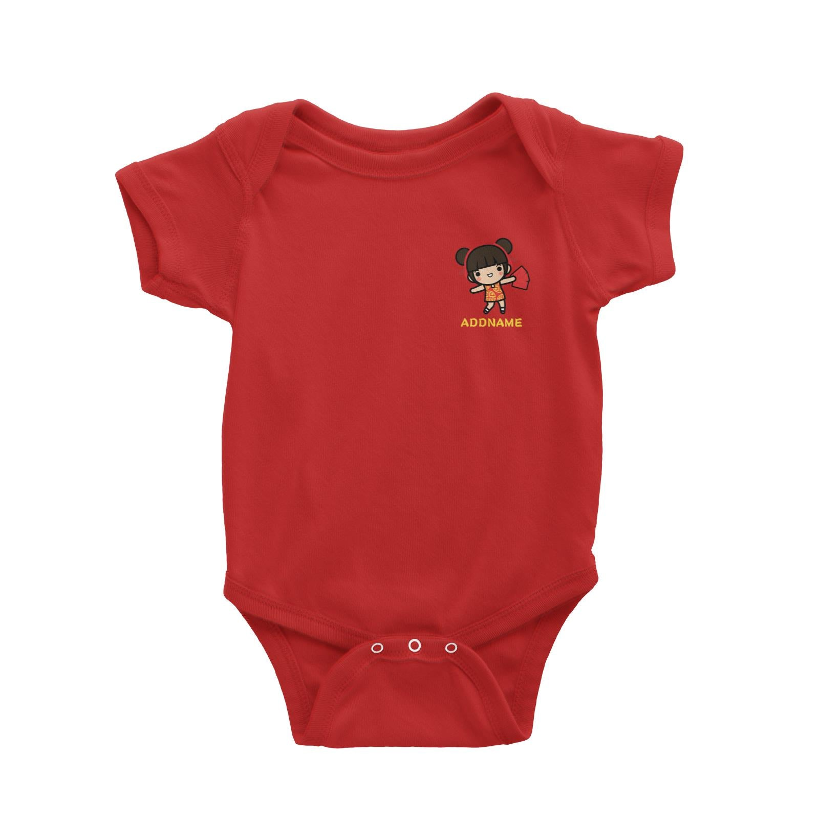 Prosperity CNY Girl with Red Packets Pocket Design Baby Romper