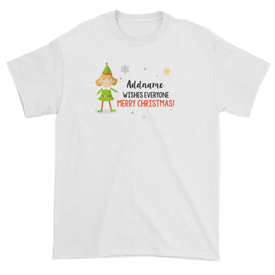 Cute Elf Woman Wishes Everyone Merry Christmas Addname Unisex T-Shirt  Matching Family Personalizable Designs