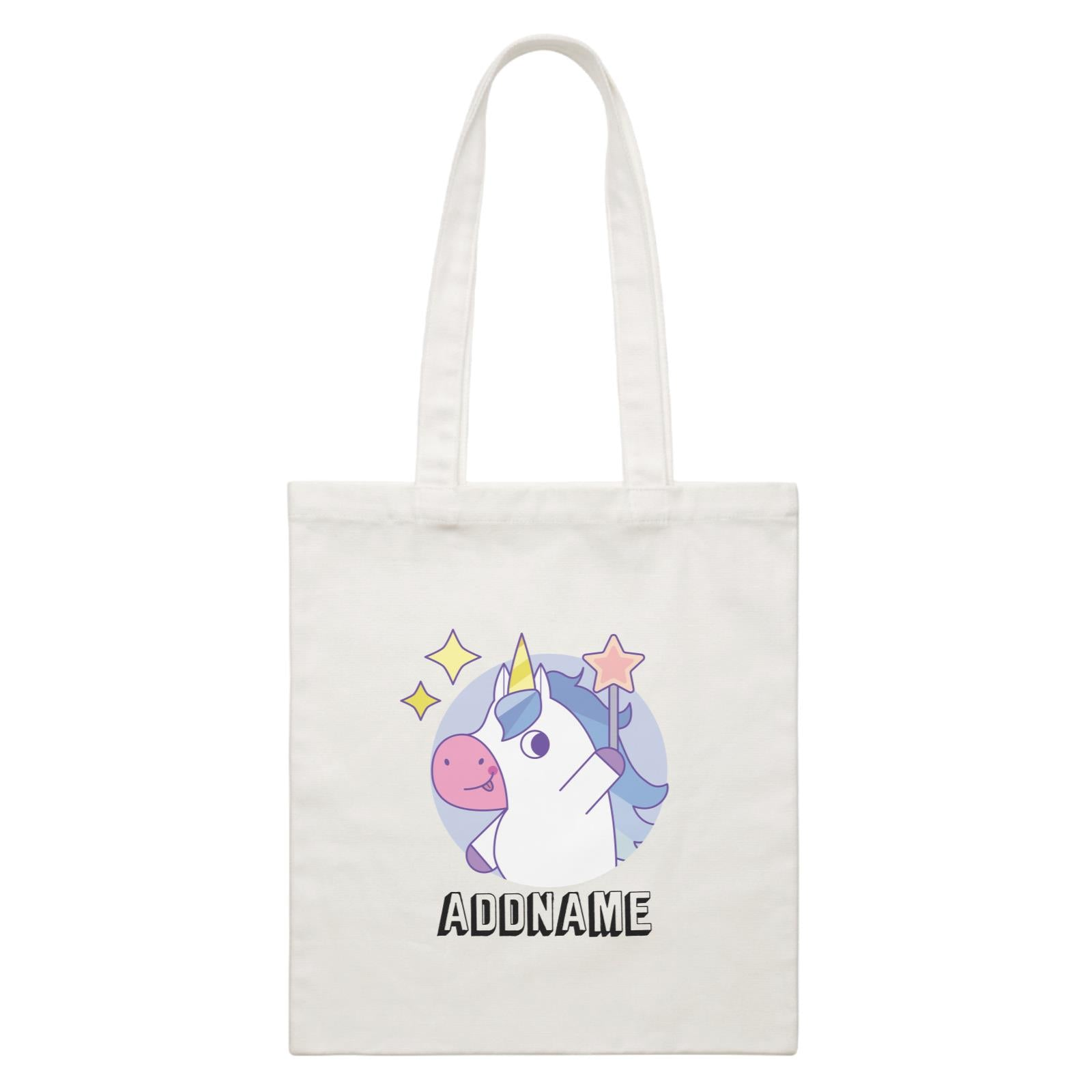 Birthday Unicorn Boy With Magic Wand Addname White Canvas Bag