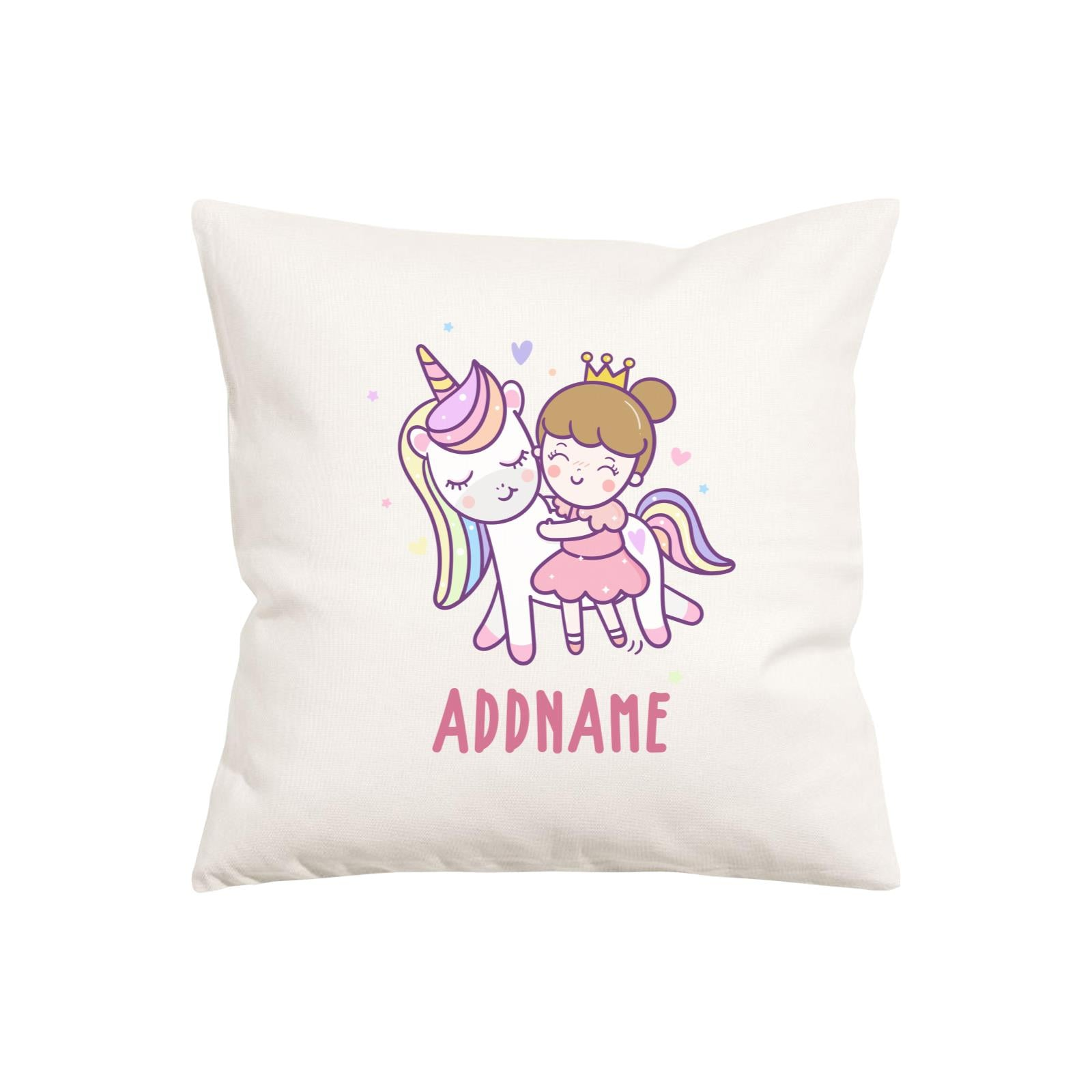 Unicorn And Princess Series Cute Unicorn With Princess Addname Pillow Cushion