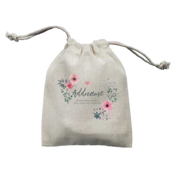 Watercolour Pink Flowers and Dark Wreath Personalizable with Name and Text Mini Pouch