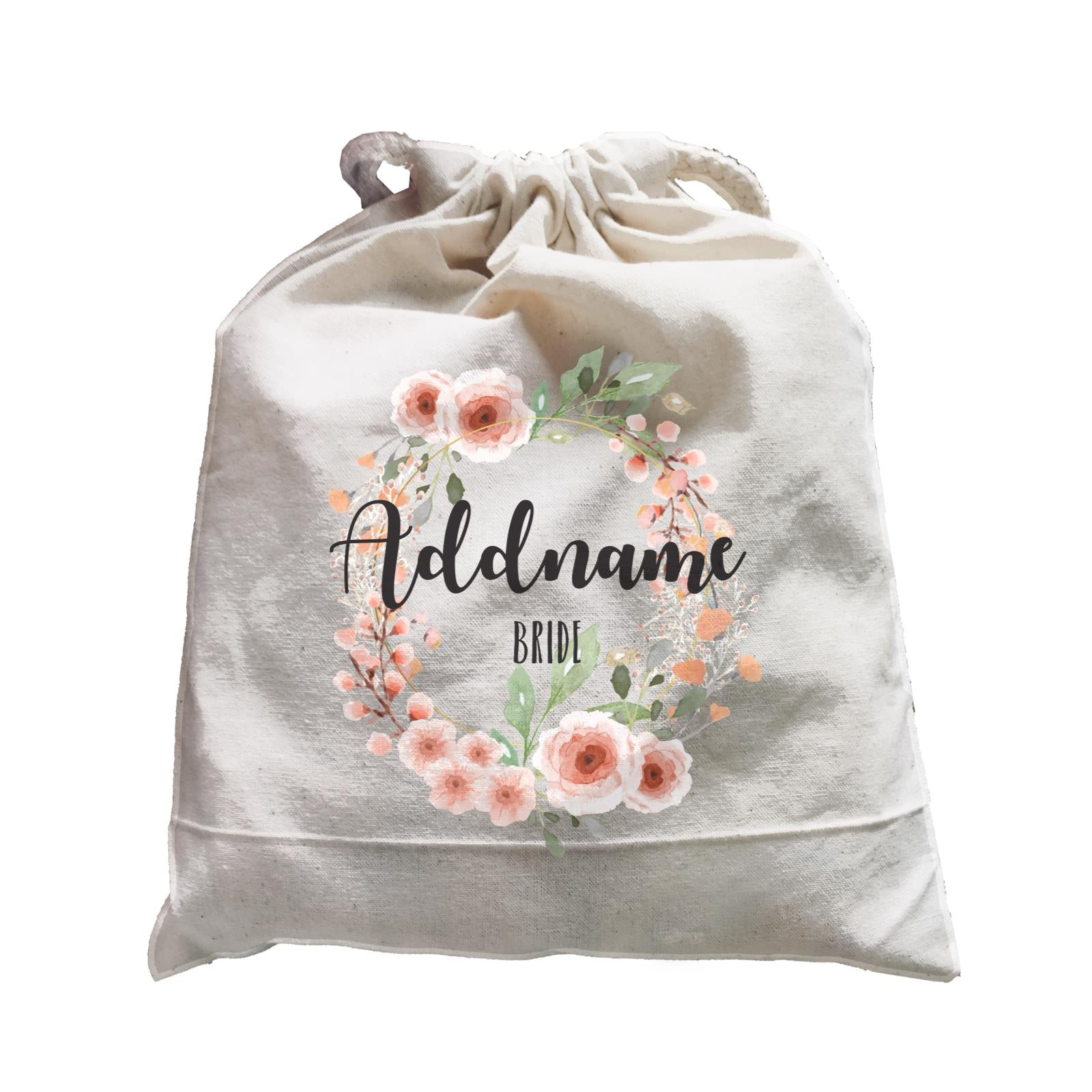 Bridesmaid Floral Sweet 2 Watercolour Flower Wreath Bride Addname Satchel