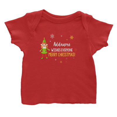 Cute Elf Girl Wishes Evryone Merry Christmas Addname Baby T-Shirt  Matching Family Personalizable Designs