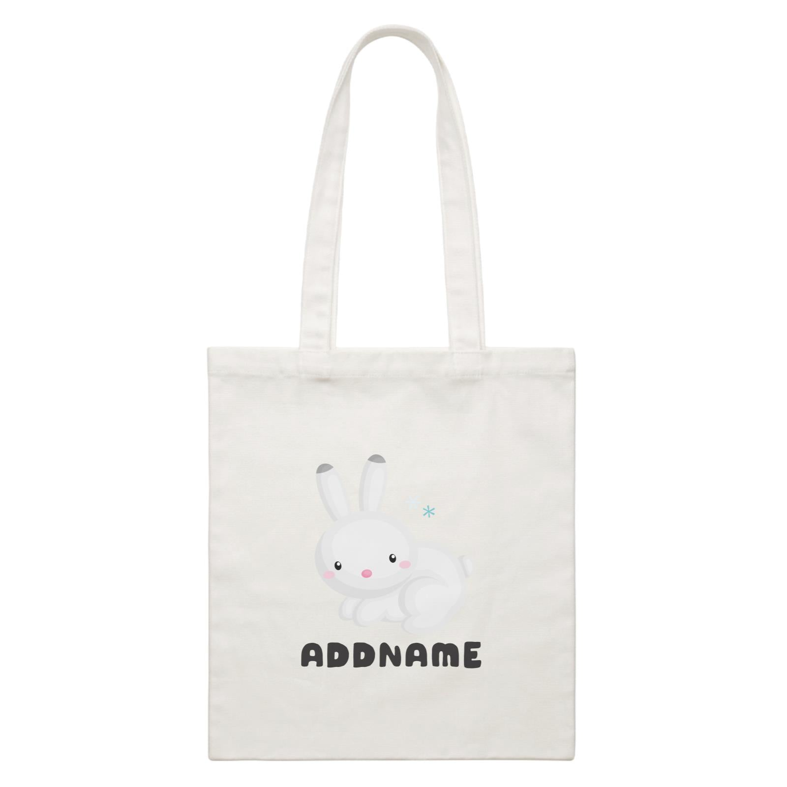 Birthday Winter Animals Snow Rabbit Addname White Canvas Bag