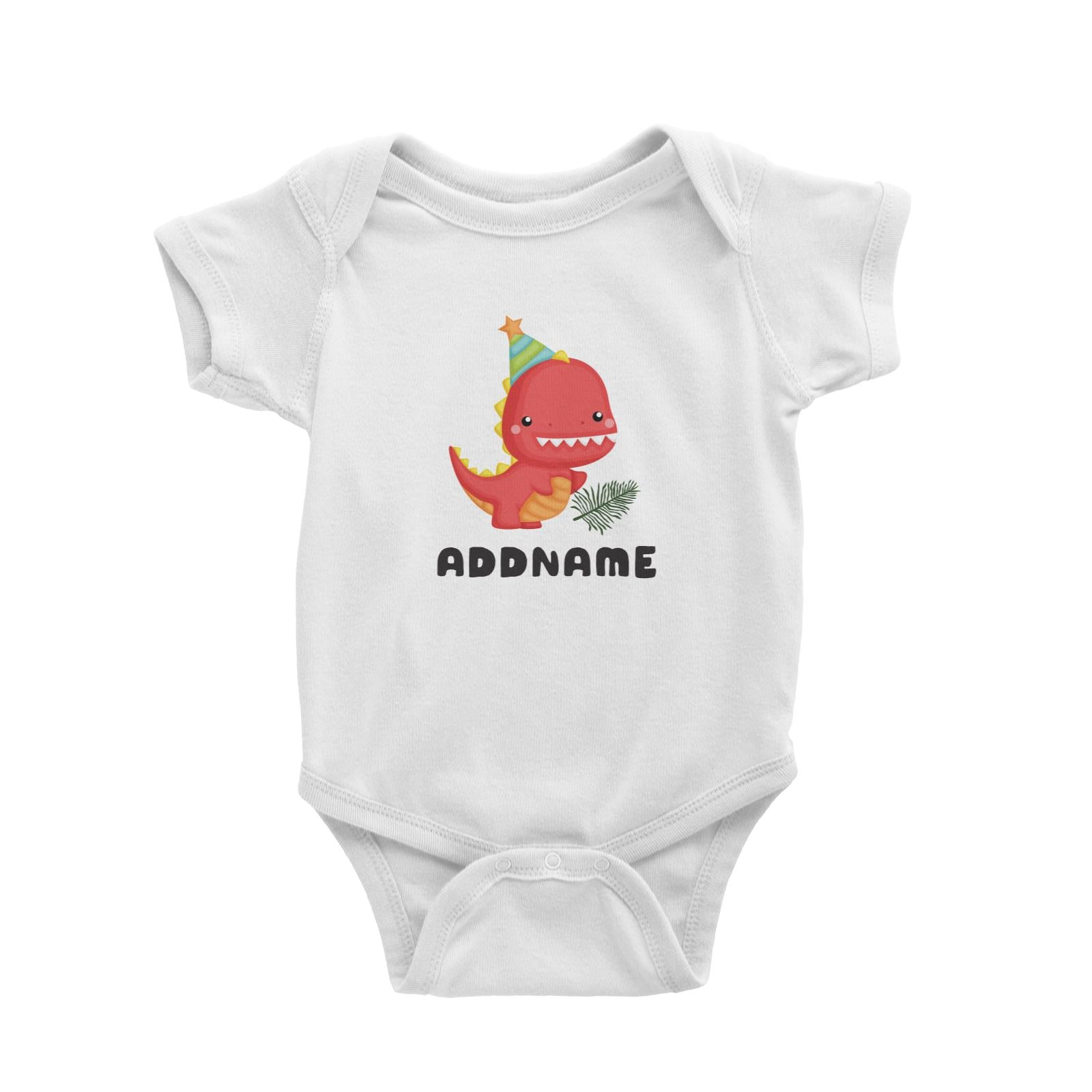 Birthday Dinosaur Happy Red Rex Wearing Party Hat Addname Baby Romper
